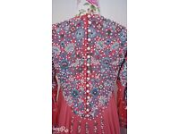 Asian Indian evening gown with train, Dusky Chiffon Pink Dress, Beaded, Hand Stitched,