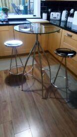 Chrome & Glass Bistro Table & 2 Stools