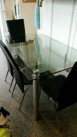 Solid Heavy Glass Dining table and chairs