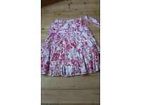 Skirt M&S worn once long gypsie red/white size 12/14 cotton lovely