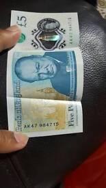 Ak47 brand new £5 note