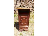 Vintage Retro French Wooden Bedside Table Cabinet Cupboard Wooden Top