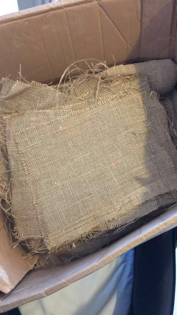 Hessian place mats and fabric
