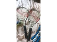 Tennis and badminton rackets with ball/shuttlecock