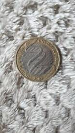 Collectable two pound coin.