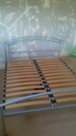 Chrome silver king size bed frame - bargain
