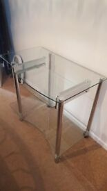 Computer desk / workstation. Glass with chrome legs.