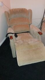 Riser recliner chair. Beige in colour. Barely used. Can deliver locally for fuel.