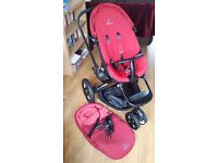 Quinny moodd pram/stroller in red rumour & all accessories.