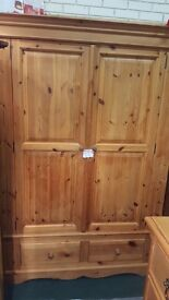 Solid pine double wardrobe top quality with drawers