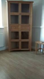 Beech effect corner display cabinet & mantelpiece