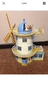 Sylvanian Family Field View Mill Windmill Including Some Characters