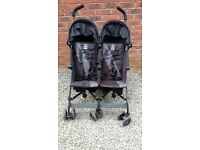 Maclaren Twin Triumph Double Buggy - barely used, excellent condition. With rain cover. Easy fold.