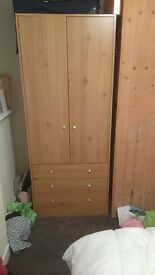 Pine wardrobe with drawers