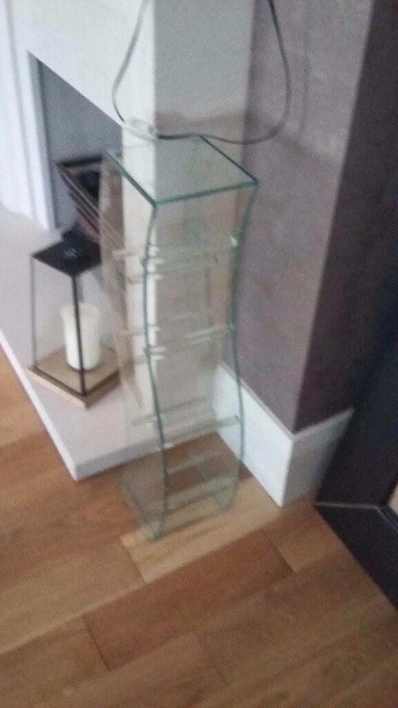 Glass contemporary floor standing CD rack