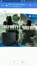 Brand new Ps4 1tb Call Of Duty infinite warfare bundle