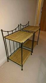 Excellent condition pair of matching metal and raffia bedside tables £20