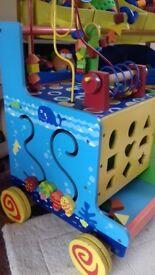 Childrens wooden activity walker