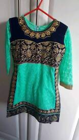 Beautiful girls shalwar Kameez suit in navy blue and mint green