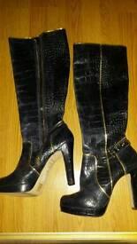 Navy Blue Croc skin River Island boots (size 8)