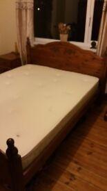 Pine bedroom suite with brand new memory foam mattress