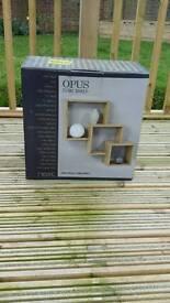 Next oak effect cube shelf