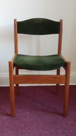 1970's dining chair with green upholstery