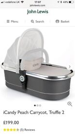Icandy peach main carrycot truffle2 with chrome chassis