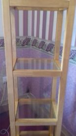 solid beech glass display unit