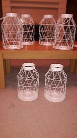 white gloss geometric metal lanterns