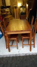 Pine Dining Table with 4 matching chairs