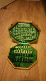 Antique, high quality chess board with white and black pawns, London, SE8, £150