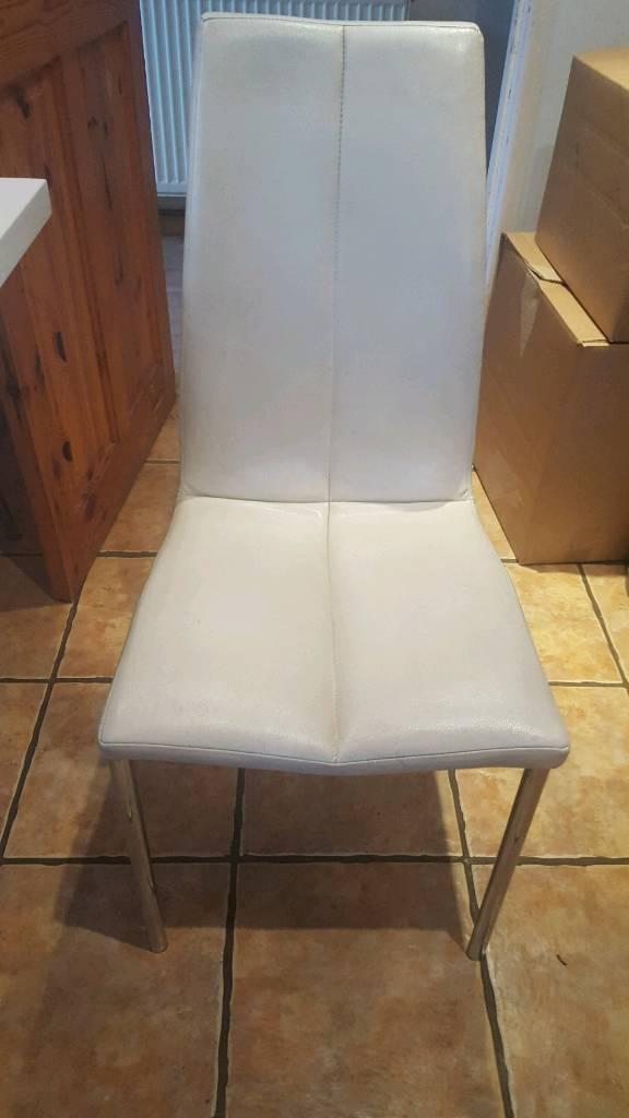 8 Leather Kitchen Chairs Cream