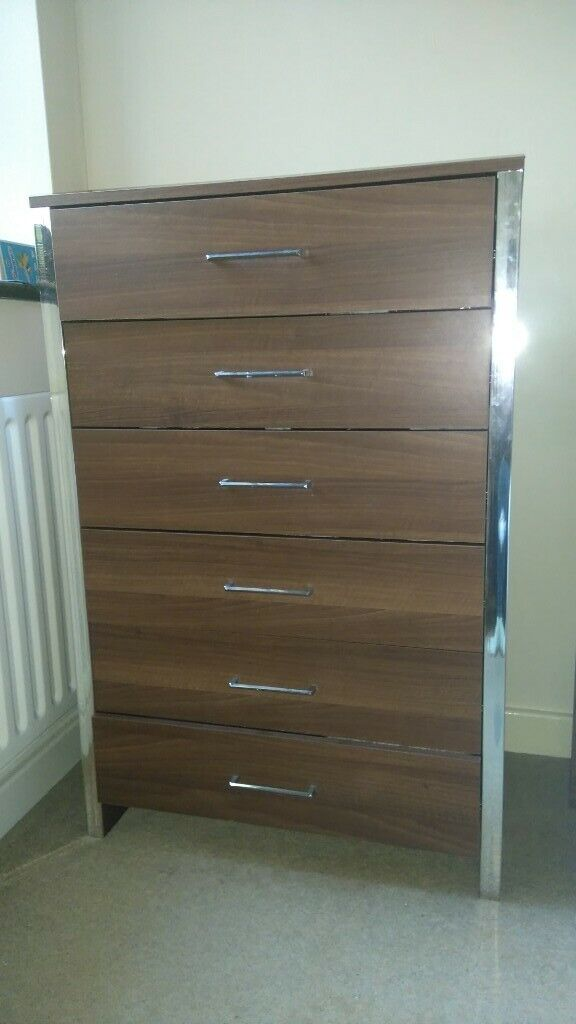 Dark brown six drawer bedside cabinet with metal handles and metal edging  from smoke & pet free home | in Walton on Thames, Surrey | Gumtree