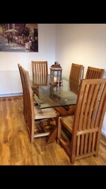 Dining in Style - Glass top and 6 solid oak high back chairs