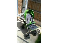 Green Chicco Multiway Evo stroller pushchair buggy with an unused footmuff, raincover, instructions