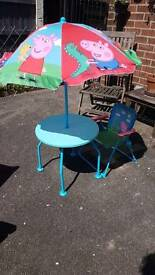 Peppa pig garden table chair and parasol garden patio furniture set for kids