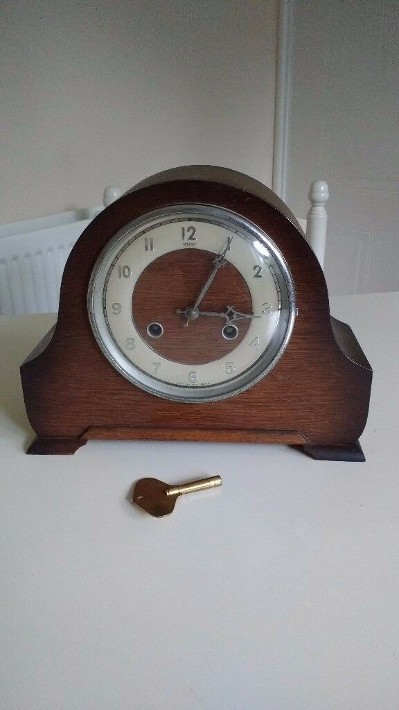 Old wooden mantle clock
