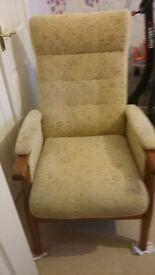 Beige/cream fabric armchair