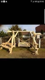 Handmade, oak, wooden garden swing, tables and benches