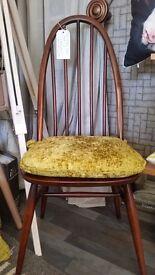Retro Ercol windsor quaker dining chairs/cushions x 2
