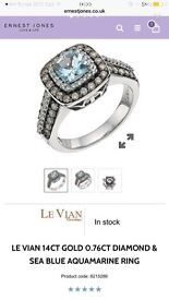 Stunning Ernest jones le vian chocolate diamond wedding/ engagement ring RRP £2250