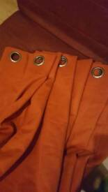 """8ft/96"""" Long Drop and 8ft/96"""" Wide Terracotta Eyelet Curtains - Brand New"""