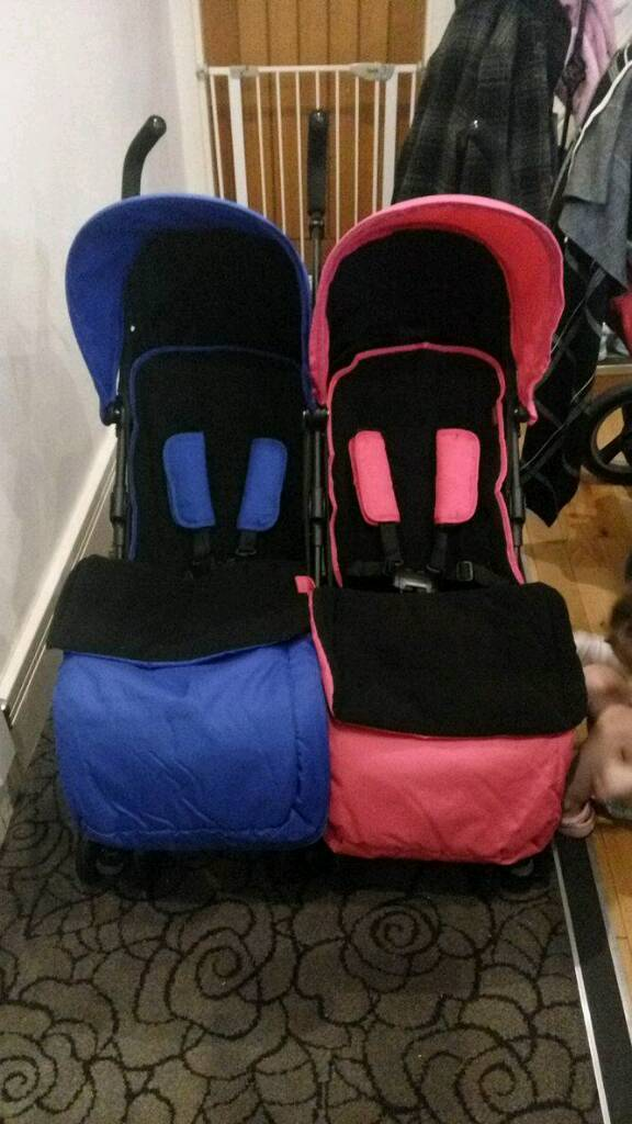 OBaby Apollo Twin Stroller and Footmuffs
