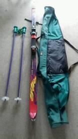 Full set of skis. Bindings poles case