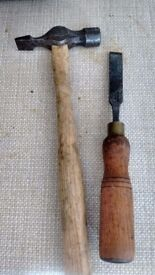 Wooden chisel and hammer