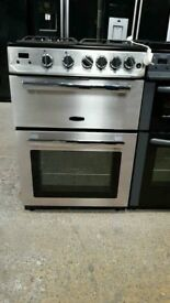 Brand New Stainless Steel 60cm RangeMaster Full Gas Cooker with Double Oven