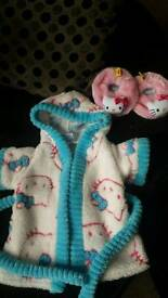 Hello kitty dressing gown & slippers for build a bear good clean condition bd6