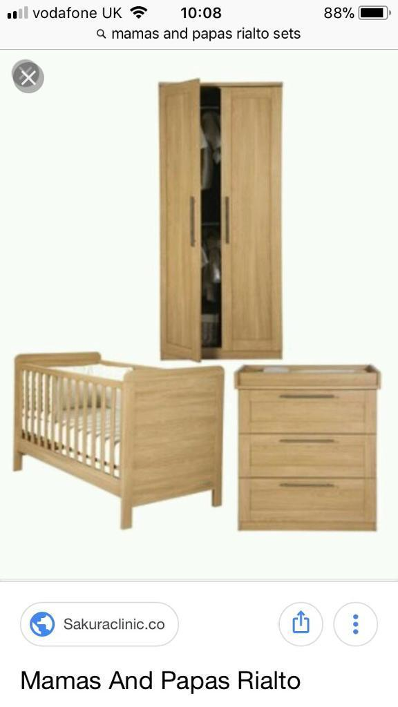 Mamas And Papas Rialto Oak Nursery Furniture Set