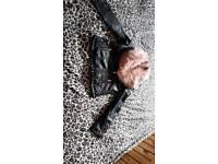Girls leather look biker jacket, ex cond age 11